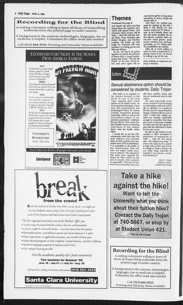 Daily Trojan, Vol. 124, No. 48, April 03, 1995