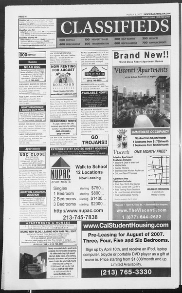Daily Trojan, Vol. 160, No. 39, March 08, 2007
