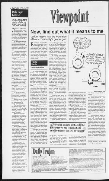 Daily Trojan, Vol. 124, No. 55, April 12, 1995