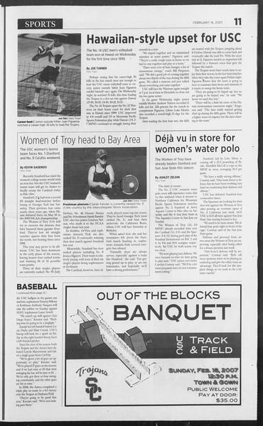 Daily Trojan, Vol. 160, No. 27, February 16, 2007