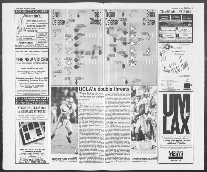 Daily Trojan, Vol. 123, No. 56, November 18, 1994