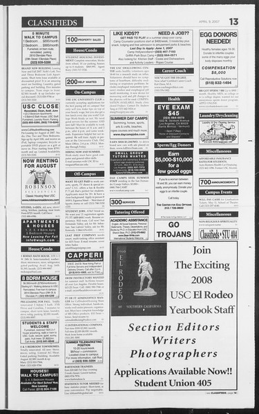 Daily Trojan, Vol. 160, No. 54, April 09, 2007