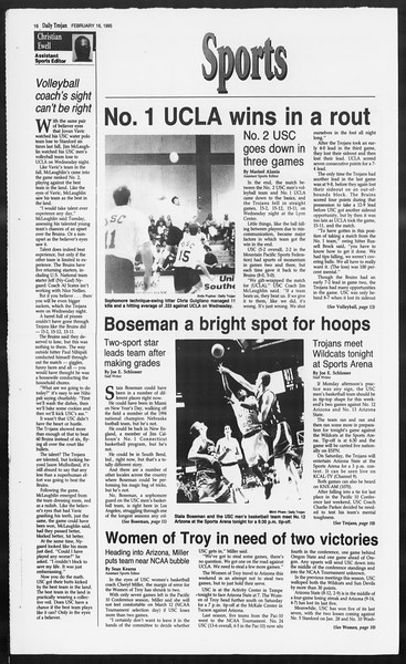 Daily Trojan, Vol. 124, No. 24, February 16, 1995