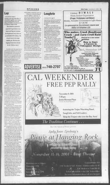 Daily Trojan, Vol. 144, No. 51, November 08, 2001