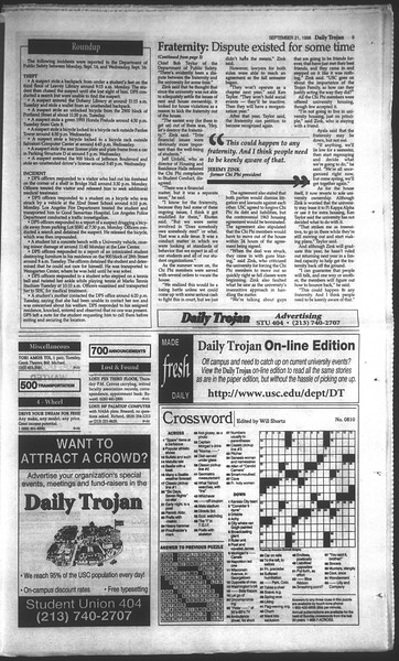 Daily Trojan, Vol. 135, No. 12, September 21, 1998