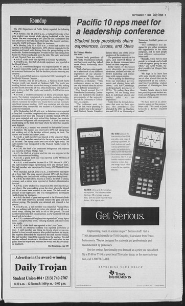 Daily Trojan, Vol. 123, No. 4, September 07, 1994