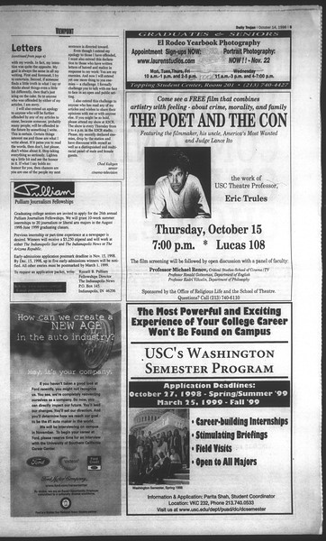 Daily Trojan, Vol. 135, No. 29, October 14, 1998