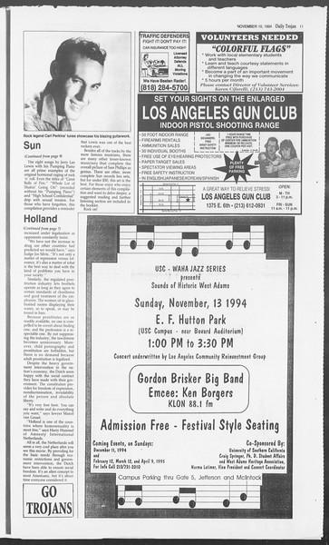 Daily Trojan, Vol. 123, No. 50, November 10, 1994