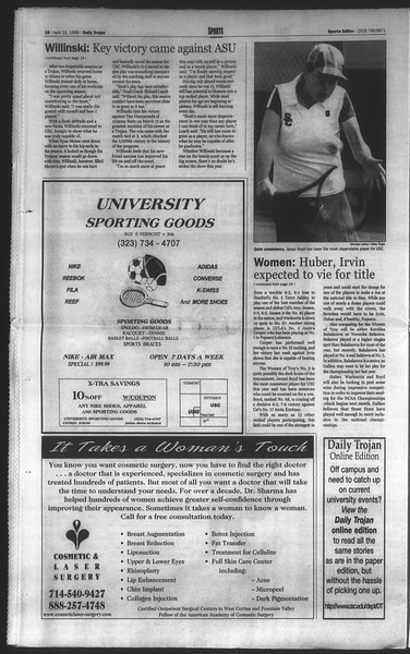 Daily Trojan, Vol. 136, No. 60, April 22, 1999