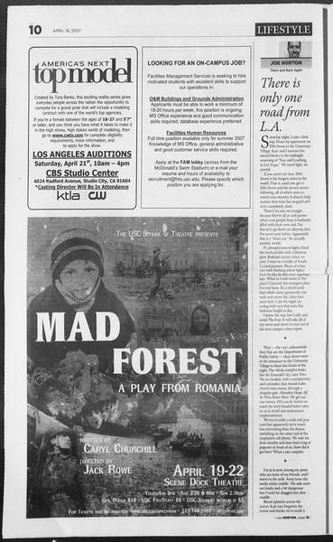 Daily Trojan, Vol. 160, No. 62, April 19, 2007