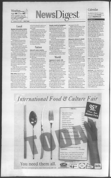 Daily Trojan, Vol. 144, No. 44, October 30, 2001