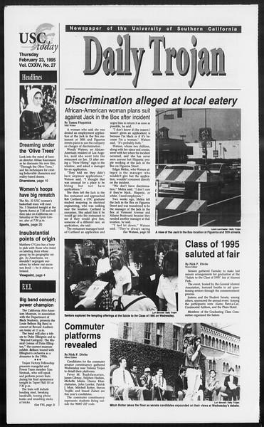 Daily Trojan, Vol. 124, No. 27, February 23, 1995