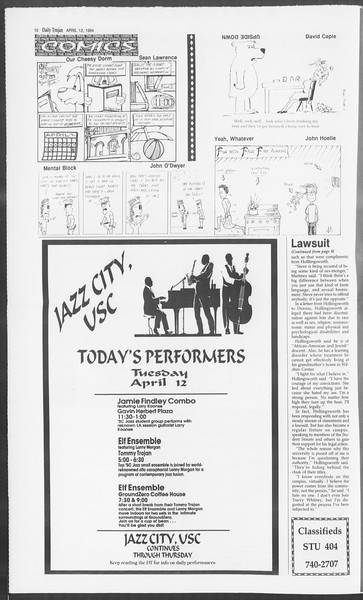Daily Trojan, Vol. 122, No. 56, April 12, 1994