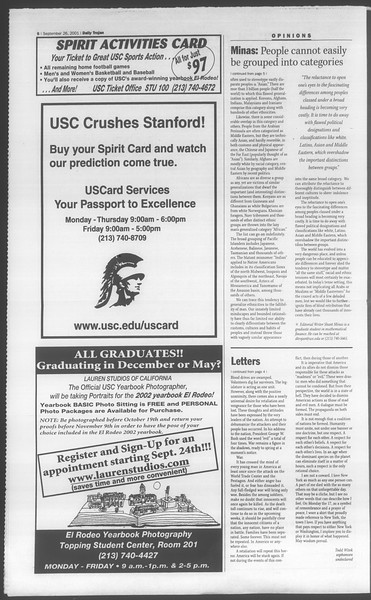 Daily Trojan, Vol. 144, No. 20, September 26, 2001