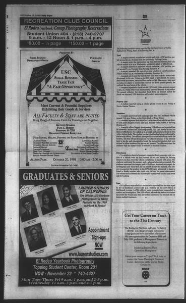 Daily Trojan, Vol. 135, No. 27, October 12, 1998