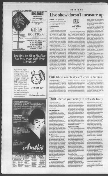 Daily Trojan, Vol. 144, No. 57, November 19, 2001