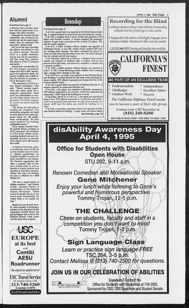 Daily Trojan, Vol. 124, No. 49, April 04, 1995