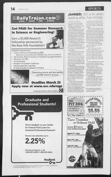 Daily Trojan, Vol. 160, No. 37, March 06, 2007