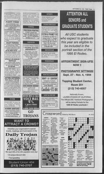 Daily Trojan, Vol. 123, No. 17, September 26, 1994