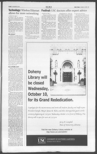 Daily Trojan, Vol. 144, No. 27, October 05, 2001