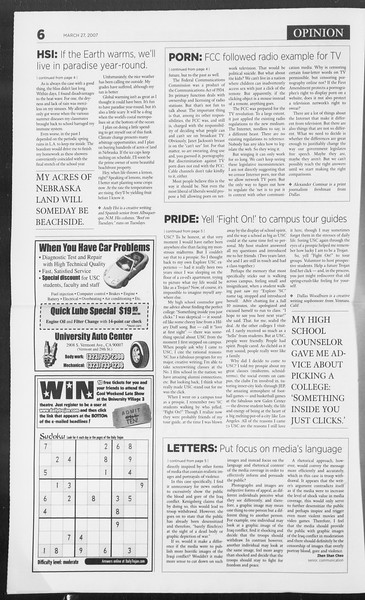Daily Trojan, Vol. 160, No. 45, March 27, 2007