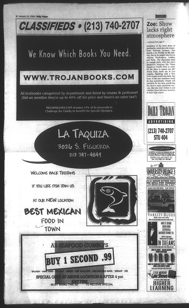 Daily Trojan, Vol. 136, No. 2, January 15, 1999