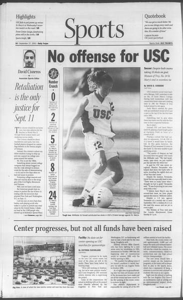Daily Trojan, Vol. 144, No. 21, September 27, 2001