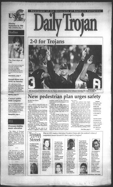 Daily Trojan, Vol. 135, No. 7, September 14, 1998