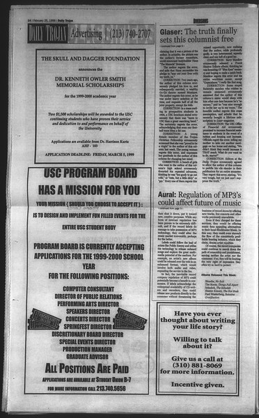 Daily Trojan, Vol. 136, No. 27, February 25, 1999