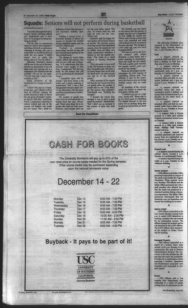 Daily Trojan, Vol. 135, No. 65, December 10, 1998