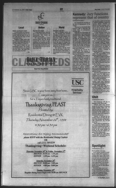 Daily Trojan, Vol. 135, No. 56, November 23, 1998