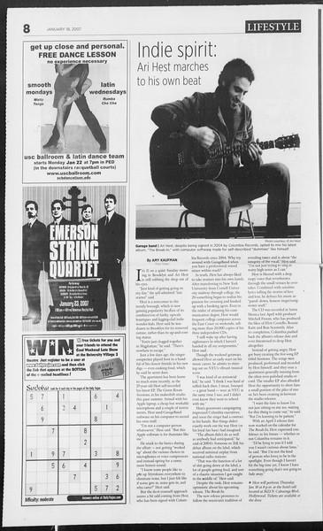 Daily Trojan, Vol. 160, No. 6, January 18, 2007
