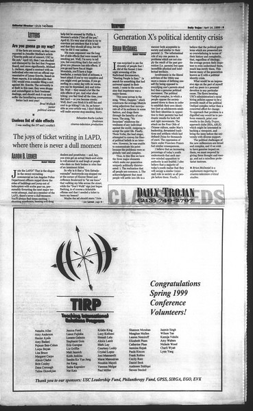 Daily Trojan, Vol. 136, No. 54, April 14, 1999