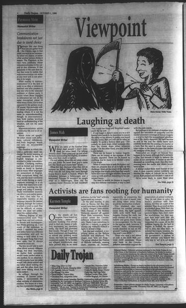 Daily Trojan, Vol. 135, No. 20, October 01, 1998