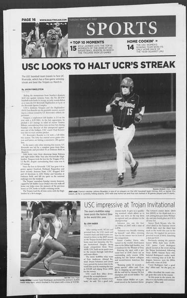 Daily Trojan, Vol. 160, No. 45, March 27, 2007