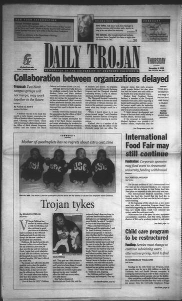 Daily Trojan, Vol. 135, No. 60, December 03, 1998