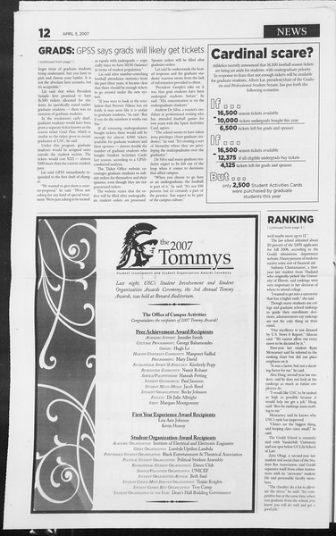 Daily Trojan, Vol. 160, No. 52, April 05, 2007