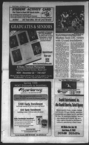 Daily Trojan, Vol. 135, No. 12, September 21, 1998