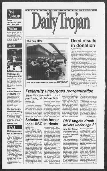 Daily Trojan, Vol. 122, No. 7, January 21, 1994
