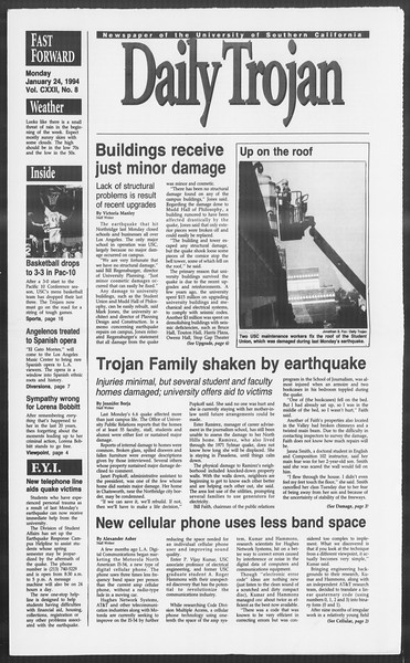 Daily Trojan, Vol. 122, No. 8, January 24, 1994