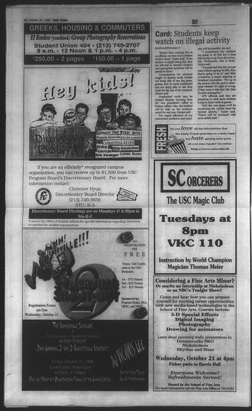Daily Trojan, Vol. 135, No. 33, October 20, 1998