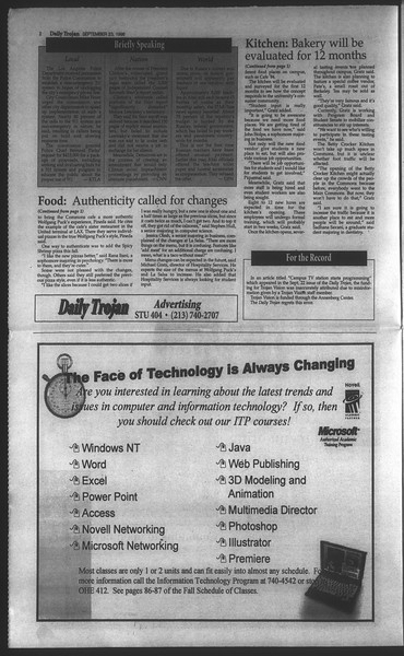 Daily Trojan, Vol. 135, No. 14, September 23, 1998
