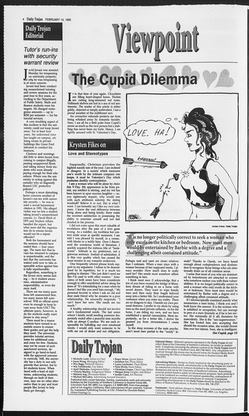 Daily Trojan, Vol. 124, No. 22, February 14, 1995