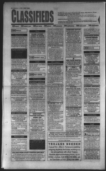 Daily Trojan, Vol. 135, No. 60, December 03, 1998