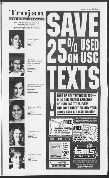 Daily Trojan, Vol. 122, No. 2, January 12, 1994