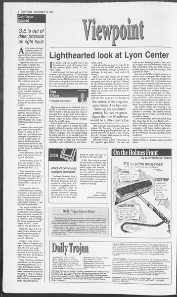 Daily Trojan, Vol. 123, No. 56, November 18, 1994