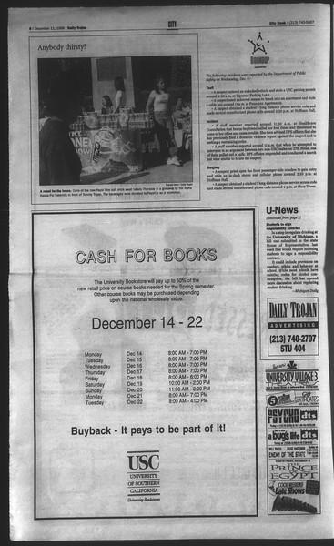 Daily Trojan, Vol. 135, No. 66, December 11, 1998