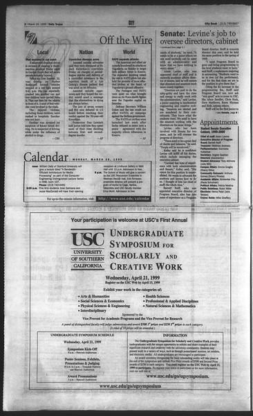 Daily Trojan, Vol. 136, No. 42, March 29, 1999