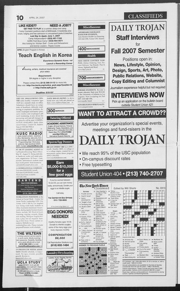 Daily Trojan, Vol. 160, No. 65, April 24, 2007