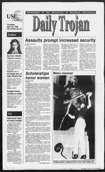 Daily Trojan, Vol. 124, No. 67, April 27, 1995